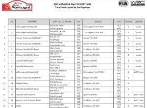 entry list - rally de portugal