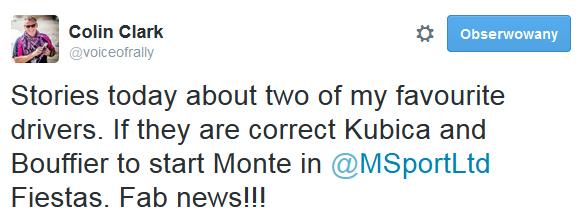 Colin Clark - zadowolony ze startu Kubicy W Rajdzie Monte Carlo