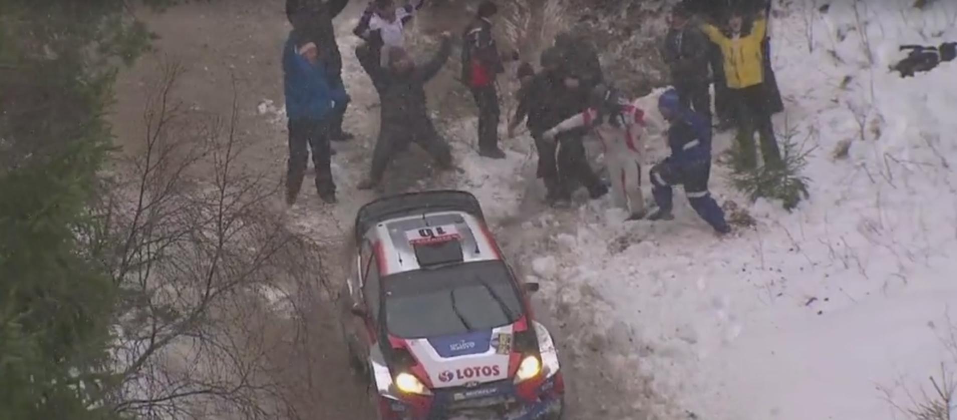 Robert Kubica snowband kibice Rajd Szwecji 2014