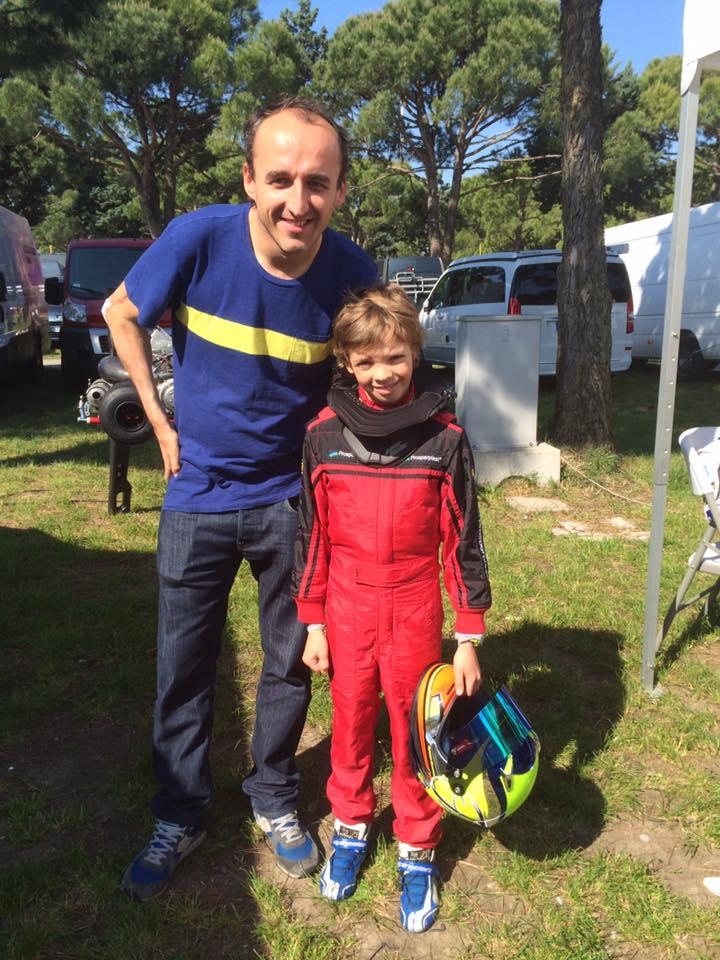 Tymek Kucharczyk z Robert Kubica na torze Jesolo we Włoszech 06.05.2016