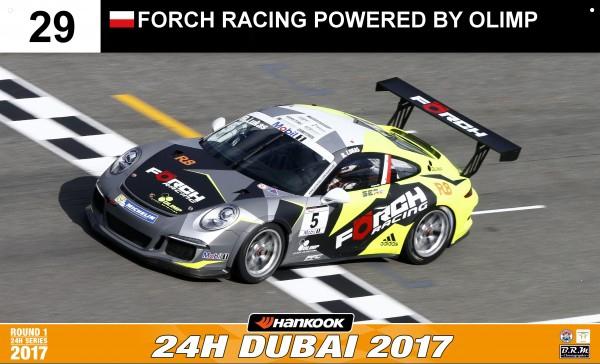 Robert Kubica i jego broń Porsche 911 GT3 R na 24H Dubai 2017