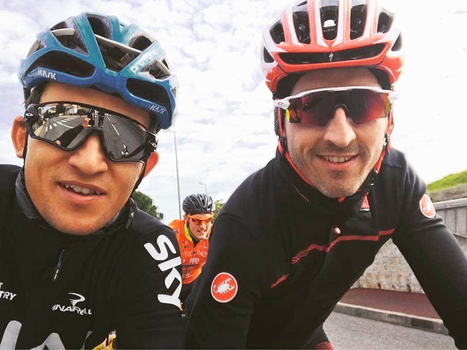 Michał Kwiatkowski i Roberta Kubica trenują na rowerze
