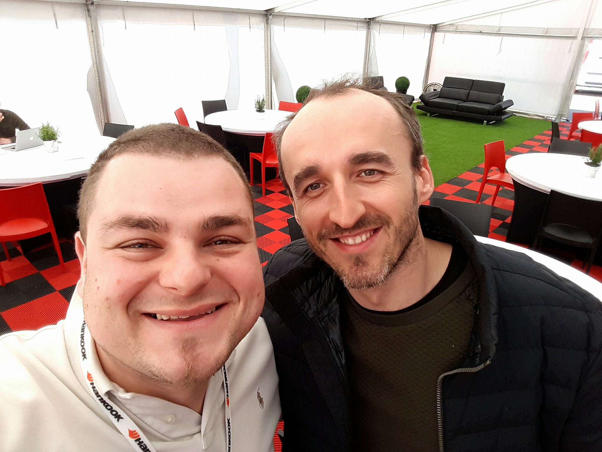 Michał Bałazy kucharz Förch Racing powered by Olimp i Robert Kubica podczas 12h Mugello