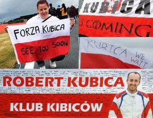 flagi kibiców czekających na powrót Kubicy