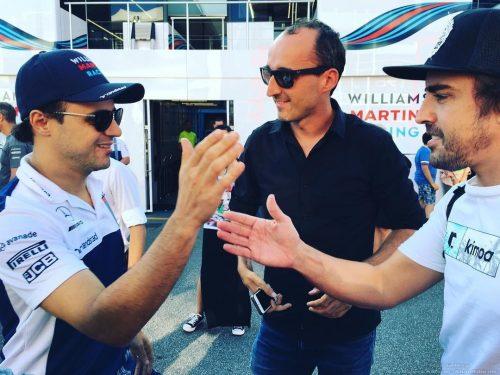 Robert Kubica Fernando Alonso Felipe Massa - Monza padok F1 2017