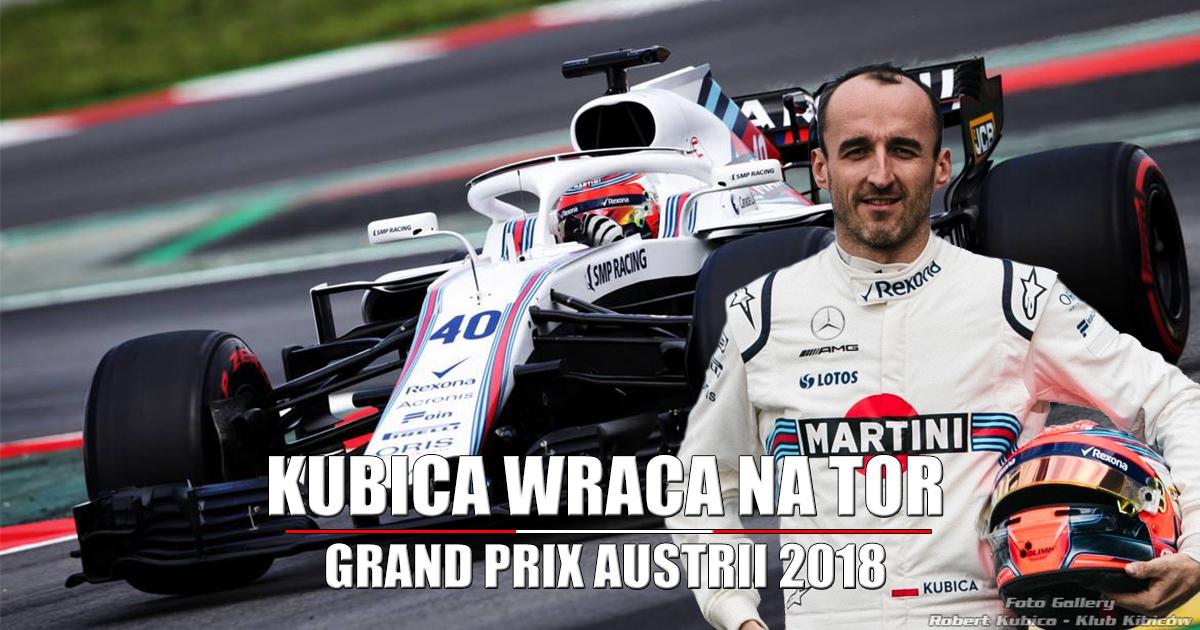 Robert Kubica w FP1 Formuła 1 Grand Prix Austrii 2018