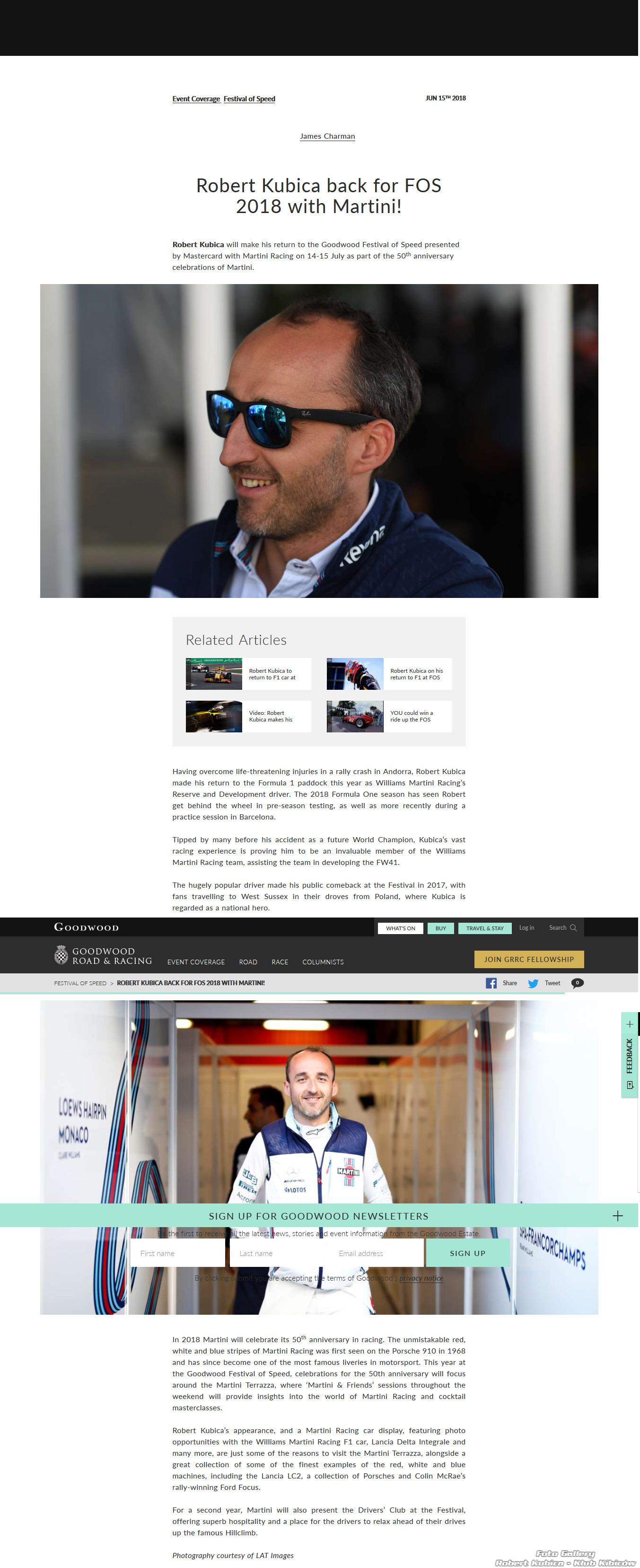 Robert Kubica w imprezie sportowej w Ello w ten weekend oraz Williams program naprawczy?