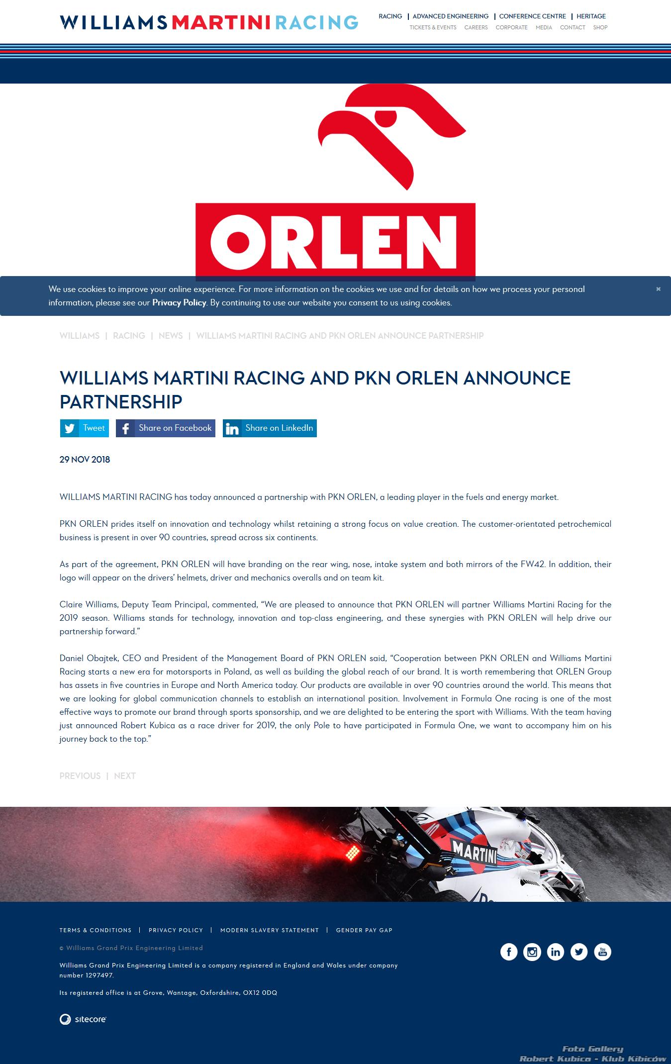 PKN ORLEN oficjalnym partnerem zespołu Williams Racing