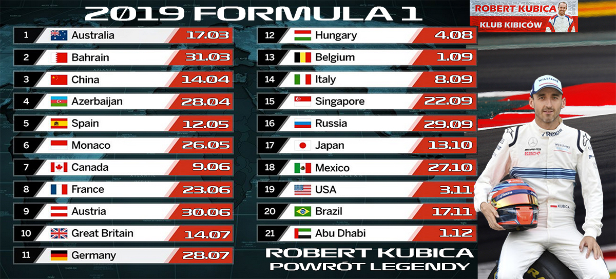 Oficjalny kalendarz F1 na sezon 2019 z Robertem Kubicą