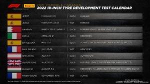 Pirelli Test Calendar